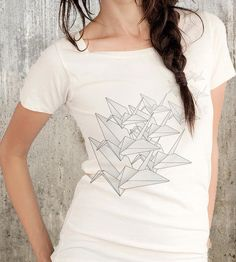 Origami Crane Scoop Neck T-Shirt