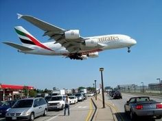 Emirates airbus a380 landing at Toronto Pearson airport
