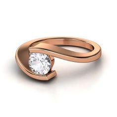 Round White Sapphire 14K Rose Gold Ring   Ocean Ring   Gemvara
