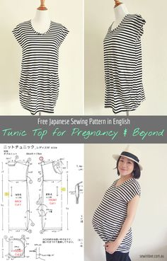 Free Japanese sewing pattern in English - Striped tunic top. This top is made of knit fabric and has two front pockets. The length and loose fit makes it suitable for before, during and after maternity. More at www.sewinlove.com.au
