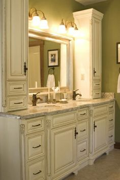 Dual bathroom sinks with middle cabinet corner vanity for Bathroom cabinets york pa