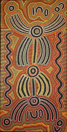 Maggie Napanangka White Wakirlpirri Dogwood or Aca 1995 Synthetic polymer paint on Belgian linen 125 x 61 cm $1,800 AUD