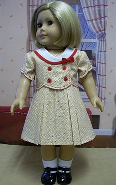 Original doll clothes designs for the era by Eve Coleman of Keepers Dolly Duds Sewing Doll Clothes, Sewing Dolls, Doll Clothes Patterns, Girl Doll Clothes, Girl Dolls, Doll Patterns, Ag Dolls, American Girl Outfits, American Doll Clothes