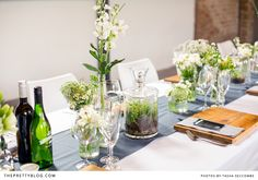 Botanical table decor- terrariums & white and green flowers | Photographer: @Tasha Seccombe, Flowers: Elgin Roses, Hiring: Blooming Wonderful