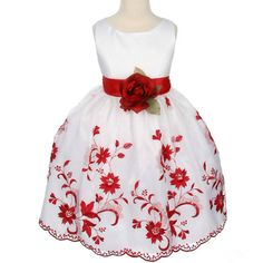 expensive delicate embroidery red flower girl dress