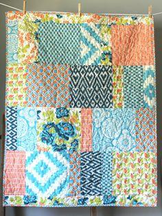 Modern Baby Quilt Blue Orange Green Gender by GoBeWonderful