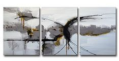 "ARTLAND Modern 100% Hand Painted Framed Abstract Oil Painting ""Random"" 3-Piece Gallery-Wrapped Wall Art on Canvas Ready to Hang for Living Room for Wall Decor Home Decoration Black Friday 16x36inches"