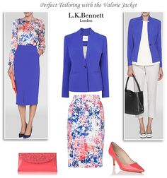 L. K. Bennett Valorie jacket in eye-catching cyan blue. A wardrobe must-have to style with pencil skirts and shift dresses for formal occasions and with ankle grazing trousers for chic everyday wear.