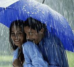 please share my umbrella in the rain cute romantic scene I Love Rain, No Rain, Rain Umbrella, Under My Umbrella, Blue Umbrella, Umbrella Tree, Walking In The Rain, Singing In The Rain, Rainy Night