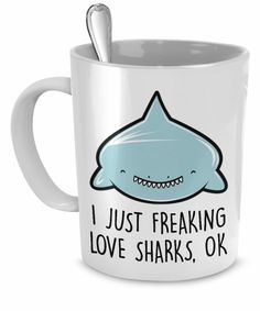 Cup every shark lover should have:) Cute Shark, Great White Shark, Shark Bait, Shark Shark, Shark Plush, Save The Sharks, Coffee Is Life, Marine Biology, Cute Mugs