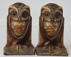 Antique Art Nouveau Deco Wise Owl Bookends Cast Iron Bronze Painted Bradley Hubbard Heavy Goth Gothic  $235