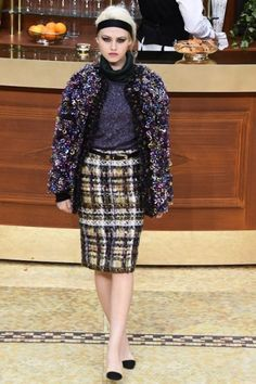 Cappottino viola in tweed Chanel