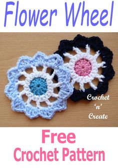 I have designed this quick and easy flower pattern with spokes to resemble a wheel, it will adorn most projects. Find it FREE on #crochetncreate #crochetflowers #crochetapplique #crochetmotif #freecrochet #crochet #howto #crochetpatterns #freecrochetpatterns #easypatterns #freepatterns #forbeginners #diy #crafts