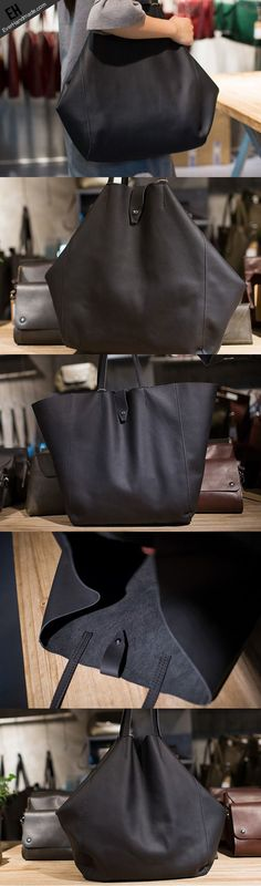 Handmade Leather vintage Big Large tote bag coffee black for women leather  shoulder bag a629888652