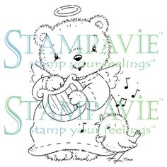 Stampavie Clear Stamp - Angel Bear, The Stamp Simply Ribbon Store