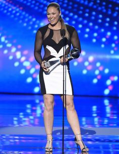 Fighting champion: Ronda Rousey accepted the Best Female Athlete Award at the ceremony...