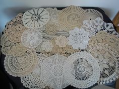 LOT 20 Beautiful Vintage LACE DOILIES HAND CROCHET FILET LACE,from 1930s or 40s | eBay