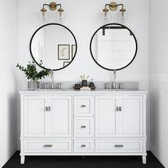 "Ka 36"" Single Bathroom Vanity Set & Reviews | Joss & Main Double Sink Bathroom, White Vanity Bathroom, Vanity Set, Master Bathroom, Oak Bathroom, Condo Bathroom, Bathroom Wallpaper, Bathroom Shelves, Small Bathroom"