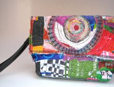 Reserved UpCycled Clutch Bag Colorful Wristlet One of a Kind Purse Fabric Purses, Fabric Bags, Fabric Scraps, Fused Plastic, Crazy Patchwork, Art Bag, Handmade Purses, Purses And Handbags, Bag Making
