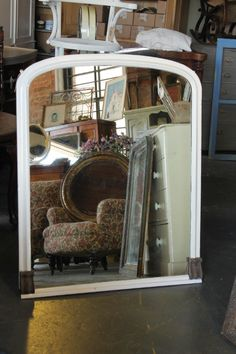 Late 19th century Overmantle mirror.