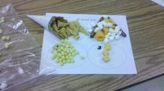 3D snack mix. Spheres- kix, cheese balls. Cones- Ice cream cone, bugles, candy corn, Cubes- cheese, caramels,    cylinder - combos, marshmallows