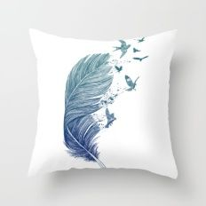 Fly Away Throw Pillow by Rachel Caldwell - Cover x with pillow insert - Indoor Pillow Sofa Throw Pillows, Throw Pillow Covers, Birds Flying Away, Moon Palace, Feather Pillows, Flies Away, Decorative Pillow Cases, Bedroom Accessories, Baby Store
