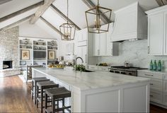Remodeled White Kitchen with Vaulted Ceiling Beams (Home Bunch - An Interior…                                                                                                                                                                                 More