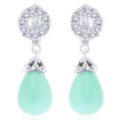 Viyari Ocean Tear Drop Earrings with CZ