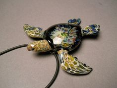 Glass Sea Turtle Jewelry Pendant Tide pool series by Glassnfire, $89.00
