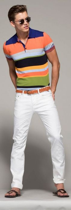 This a fun, bold look that is perfect for spring/summer.  The colors are great.  For a dressier occasion just add a light colored blazer and some loafers.