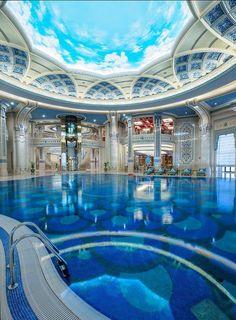 Indoor Pool at the Marvelous The Ritz-Carlton Riyadh, Saudi Arabia Luxury Swimming Pools, Luxury Pools, Dream Pools, Swimming Pool Designs, Mansion Homes, Dream Mansion, Mansion Interior, Indoor Pools, Lap Pools