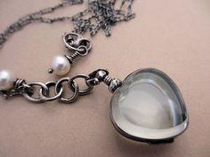 Heart Heirloom Locket  Sterling Silver Glass Fresh by AdobeSol, $180.00