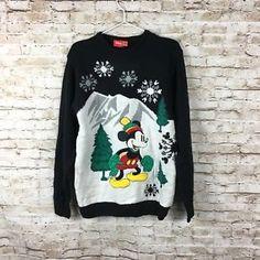 Disney Ugly Christmas Holiday sweater size Medium mickey snowflake womens  | eBay