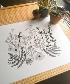 Screen Printing Process, Flower Bird, Line Illustration, Botanical Flowers, Drawing Skills, Bird Design, New Art, Printmaking, White Paper