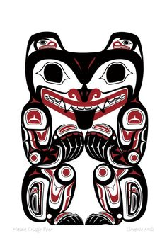 Haida Grizzly Bear, Clarence Mills I have a print of this.You can find Haida art and more on our website.Haida Grizzly Bear, Clarence Mills I have a print of this. Haida Kunst, Inuit Kunst, Arte Haida, Haida Art, Inuit Art, Haida Tattoo, Tattoo Art, Kunst Der Aborigines, Sketch Manga