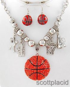 """CHUNKY BASKETBALL MOM THEME SILVER TONE METAL NECKLACE SET WITH CRYSTAL ACCENTS      * If you need a necklace extender I have them for sale in my store.*        NECKLACE: 17.5"""" +  EXT    DROP: 2 1/4"""" L        HOOK EARRINGS: 1 1/2"""" L           COLOR: SILVER TONE $25.99"""
