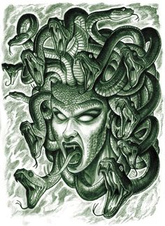 Medusa Face With Snakes Tattoo Designs by Nahuel