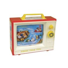 Fisher Price toy TV with nursery rhymes.
