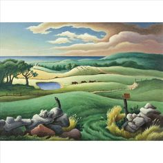 'Keith Farm, Chilmark' (1955) by American painter Thomas Hart Benton (1889-1975). Our view from Hellie's! Oil on board, 21 x 29 in. via artnet