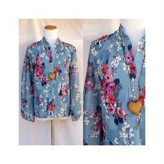 Boho Hippie Blouse Asian Sheer Floral 70's Top Poet Peasant Cherry Blossom Blue Blouse Vintage 1970's Long Sleeve Slouchy Hippy Size Large