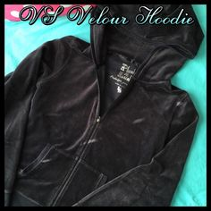 Flash Sale!!!Victoria's Secret Velour Hoodie Get this great VS Hoodie in great condition. Has been worn and does have some fading from washing but otherwise is really nice. There are no stains or holes. This hoodie is Black and was hard to capture the correct color, but I would say the most accurate picture is the First one. Great hoodie to lounge in or wear out. Super soft and comfy. Please use the OFFER BUTTON for price inquiries. Thanks! Victoria's Secret Jackets & Coats
