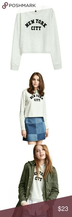 """New York City Sweatshirt Lightweight heather grey NYC sweatshirt. Nice stretch, not bulky. Cotton/viscose. Great layering piece for Fall.  Size: Large Measurements: Bust: 22""""  Length: 20""""  Sleeve: 24""""  NO Trade / NO Paypal Tops Sweatshirts & Hoodies"""