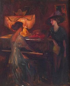 interior-with-two-figures, scene-at-a-piano, Emil Fuchs