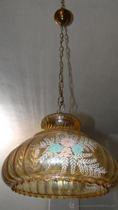 LAMPARA DE CRISTAL AMBARINO CON DECORACION FLORAL SERIGRAFIADA - FUNCIONANDO - - Foto 10