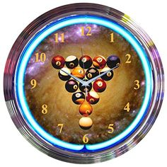 Neonetics Bar and Game Room Billiards Space Balls Neon Wall Clock 15Inch *** Click on the image for additional details.