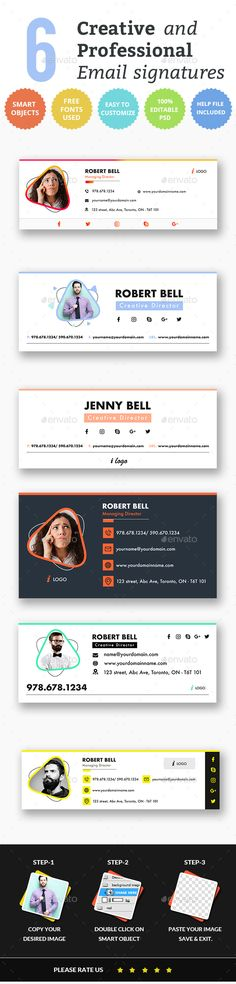 Email Signature Templates- Creative 6 Designs - Miscellaneous Web Elements Company Email Signature, Professional Email Signature, Email Signature Templates, E Signature, Signature Design, Email Signatures, Web Design, Graphic Design, Photoshop