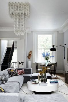 This living room is a mix of mid-twentieth-century Scandinavian and Seventies glamour.