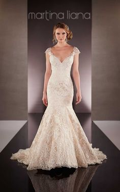 694 Lace Over Satin Wedding Dress by Martina Liana