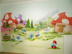 Ζωγραφική παιδικών δωματίων. Το στρουμφοχωριό με τους γνωστούς γαλάζιους κατοίκους του, σε παιδική τοιχογραφία.