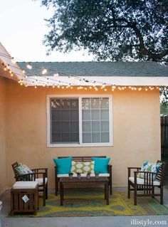 DIY home decor idea | Turn your patio into a stylish retreat with this tutorial | How to Hang Cafe Patio Lights | www.illistyle.com